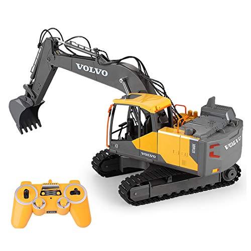 Myste Excavadora teledirigida, juguete para camiones, totalmente funcional, excavadora de 2,4 G RC tractor juguete de construcción con sonido y cubo, vehículo de construcción para niños, adultos