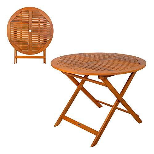 Aktive 61029 - Mesa redonda plegable madera de acacia Garden 100 x 74 cm ⭐