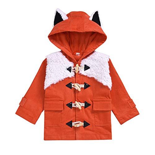 Miss Fortan Baby Kinder Jungen Mädchen Windjacke Mantel,Hornschnalle Coat Jacken Herbst Winter Cartoon Fuchs Strickjacke Kleidung Warm Outwear