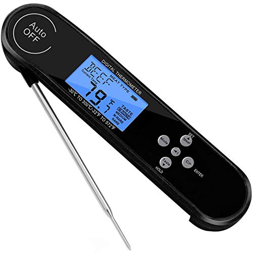 HYDT Digital Instant Read Meat Thermometer for Grilling Best Waterproof Electronic Kitchen Cooking Food Thermometer for Candy Water Oil BBQ Grill Smoker Oven Safe Magnet