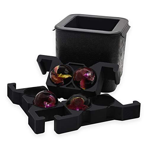 Kristallklare Eiskugelmaschine, Jumbo-Eisbällchen, kugelförmige Whisky-Tablettformmaschine für Eisbälle, blasenfrei mit einer Kapazität von 2,36-Zoll-Bällen für Cocktails und Getränke zu Hause(4BALL)