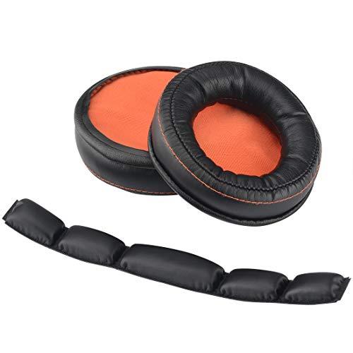 Geekria QuickFit Protein-Leder-Ohrpolster, Ersatz für SteelSeries Siberia 800 840 Kopfhörer + Ersatz-Kopfband/Polsterpolster, Reparaturteile (Ohrpolster + Stirnband)
