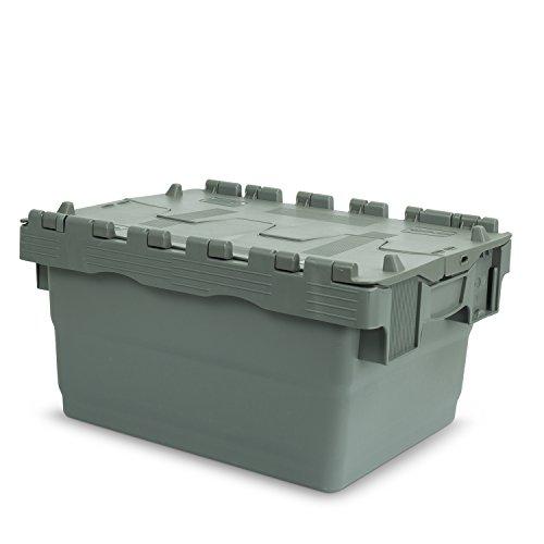Hans Schourup 22600450 Mehrwegbehälter mit Klappdeckel, 400 mm x 300 mm x 200 mm, Grau