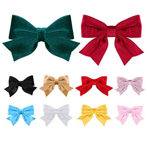 10 colores de terciopelo lazos para el pelo Clips para niñas Big Bowknot Alligator Pasadores de pelo vintage accesorios para el...