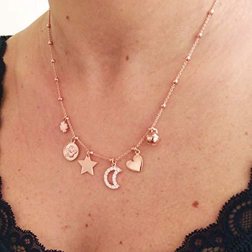 ViMon gioielli, COLLANA in ARGENTO 925 placcato ORO ROSA,con ciondoli vari :quadrifoglio,medaglia angioletto,stella,luna,cuore,campanellino gatto. Lunghezza Catena SU MISURA