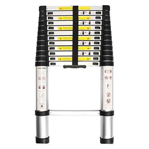 WolfWise 3,8M Teleskopleiter, Rutschfester Klappleiter Stehleiter Mehrzweckleiter aus hochwertiges Aluminium, 150 kg/330 Pfund Belastbarkeit, Schwarz