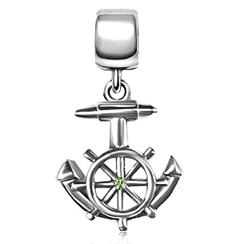 TGLS Boat Anchor Charm with Jan-Dec Simulated Birthstone for Sailor Nautical Navy Gift Bracelets Charms