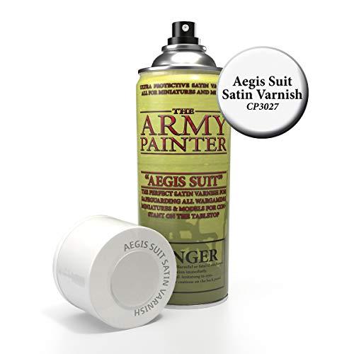The Army Painter Colour Primer, Aegis-Suit Satijnen Vernis, 400ml, 13,5 oz – Satijn Spray Finish voor Tafelblad Roleplaying, Boardgames, en Wargames Miniatuur Modelling en Schilderen