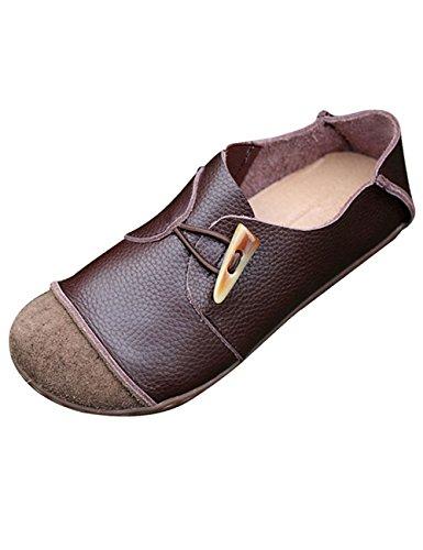 Youlee Frauen-Weinlese -Plattform-Schuh-Leder-Flache Schuhe Kaffee EU 41/CH 42