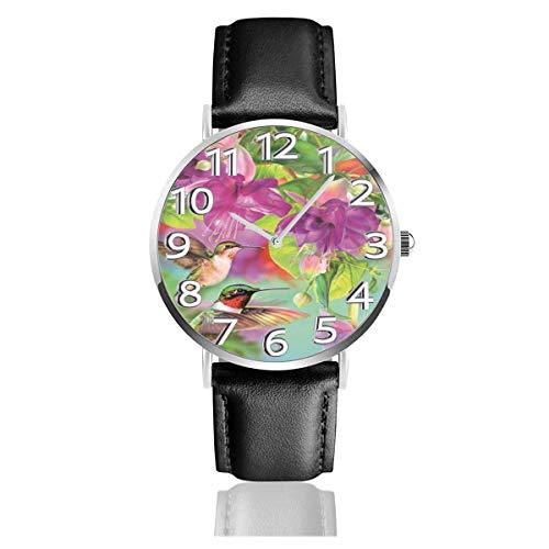 Reloj de Pulsera Colibrí Flor Primavera Durable PU Correa de Cuero Relojes de Negocios de Cuarzo Reloj de Pulsera Informal Unisex