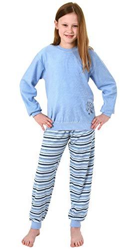 Mädchen Frottee Pyjama Schlafanzug Langarm mit Bündchen und Pferd als Motiv - 291 13 571, Farbe:hellblau, Größe:134/140