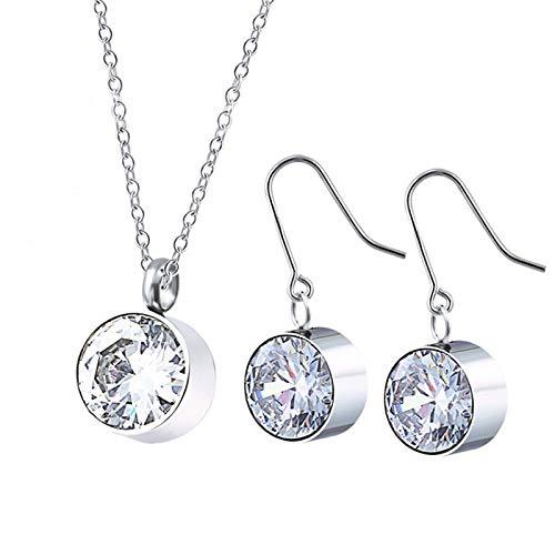 Burenqi Crystal Color Sieraden Sets Ronde Hanger Chirurgisch staal Drop Oorbellen voor Vrouwen