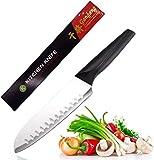 Couteau de Santoku 17cm en Acier Allemand, Couteau Japonais, Couteau de Cuisine...