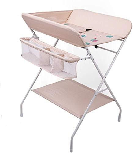 H.yina Table à Langer Pliante, Chambre de bébé pour bébé, Petit Espace, Commode Portable pour Enfant, Rose/Gris, 0-3 Ans (Couleur: Rose)