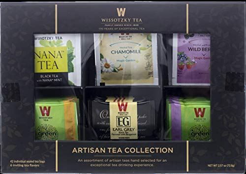 Wissotzky Artisan Collection Assorted Artisan Tea Bags (42 Individually Wrapped Tea Bags, 6 Flavors) Elegant Tea Chest, Great for Corporate & Holiday Gifts, Early Grey, Wild Berry, Chamomile, Black Tea with Nana Mint, Green Tea with Jasmine, Green Tea With Citrus Fruits