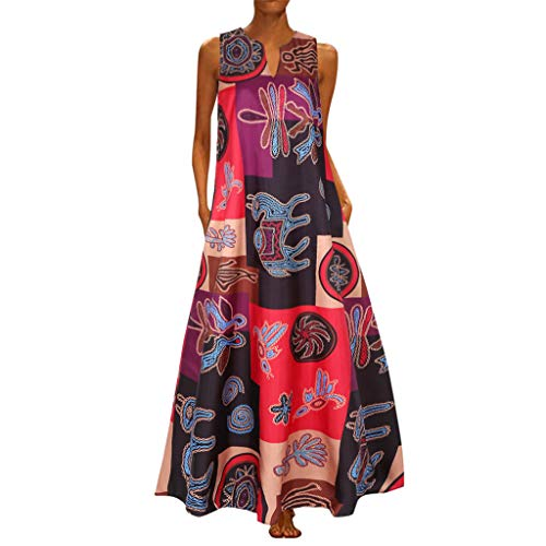Why Choose Hurrybuy Women Vintage Print Casual Sleeveless Bohemian V Neck Long Maxi Dress Summer Poc...