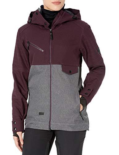 Ride Snowboard Outerwear - chamarra de esquí para mujer, diseño de cereza, color vino/gris melange, MED