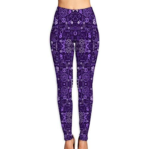 Abusss Legging Femme Pantalon de Sport Yoga Fitness, Women's Supernatural Symbols Two Printed Soft Leggings High Waist Yoga Pants Training Leggings