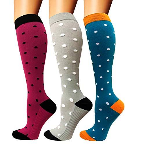 Calcetines de compresión para mujeres y hombres: los mejores calcetines médicos, para correr, enfermería, circulación y recuperación, senderismo, viajes y vuelo, 20-25 mmHg A12-multicolor-3 pairs S/M