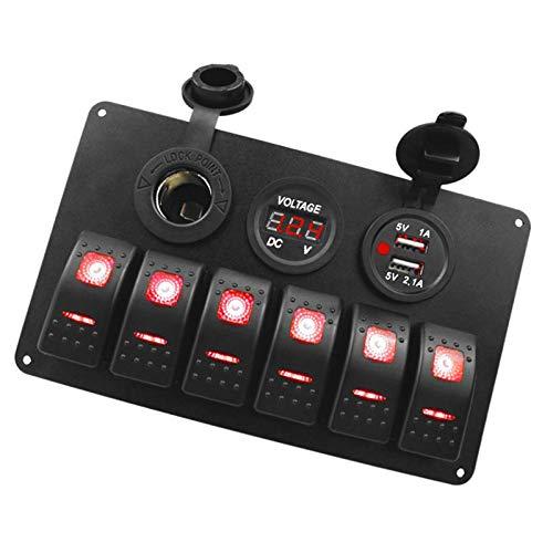 Panel de interruptores basculantes de 6 unidades con voltímetro de puerto USB doble, accesorios de coche para camión de coche de 12 V / 24 V, camión de RV marino