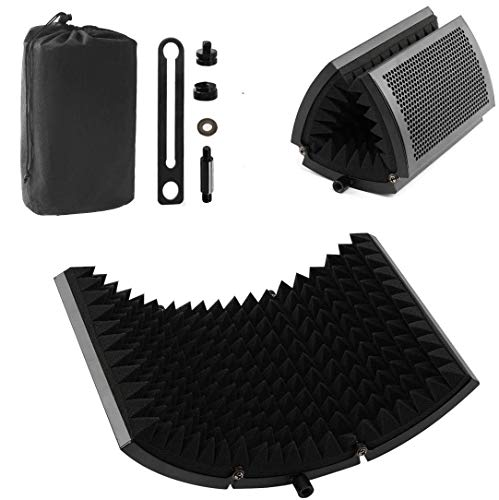 Locisne Escudo aislamiento micrófono,micrófono estudio plegable Reflector espuma absorbente sonido Escudo profesional...