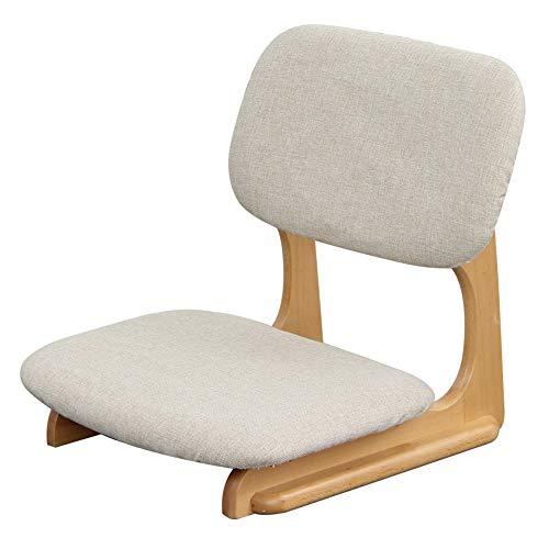 Chaise Cadre en bois massif Chaise paresseuse Chaise de sol Pour Salon Chambre à coucher Balcon 52 x 52 x 53 CM (Couleur : Beige)