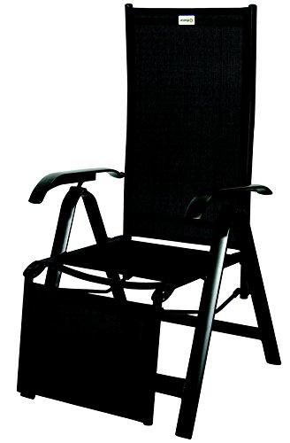 acamp Gartenstuhl acatop Relaxsessel Sessel 7-Fach verstellbar Aluminium Acatex Gewebe anthrazit Nero