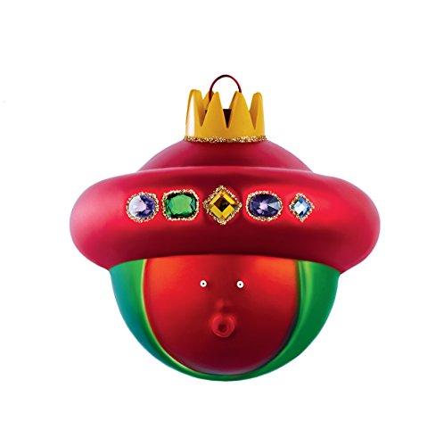 Alessi Baldassarre AMJ13 10 Pallina di Design per Albero di Natale del Magio Baldassarre in Vetro Soffiato Decorato a Mano, Rosso