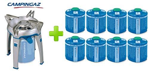 ALTIGASI Réchaud à gaz Bivouac Campingaz Puissance 2600 W avec Sac de Transport - Système de Cartouche Amovible + 8 Cartouches à gaz CV300 de 240 g