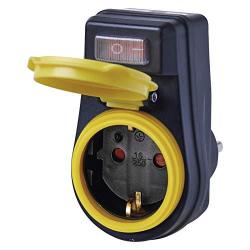EMOS P00292 Enchufe Interruptor, IP44 Impermeable, Adaptador Schuko con Tapa Protectora para Exteriores