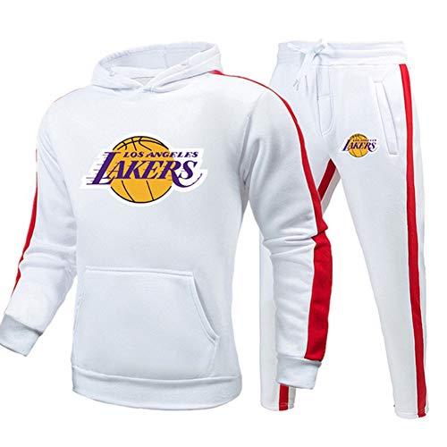 Z/A Lakers Herren Trainingsanzug, Track Sweatshirt Anzug & Hosen, Slim Fit Jogging Track Anzug, Laufende Sportbekleidung für Herbst und Winter,Weiß,M