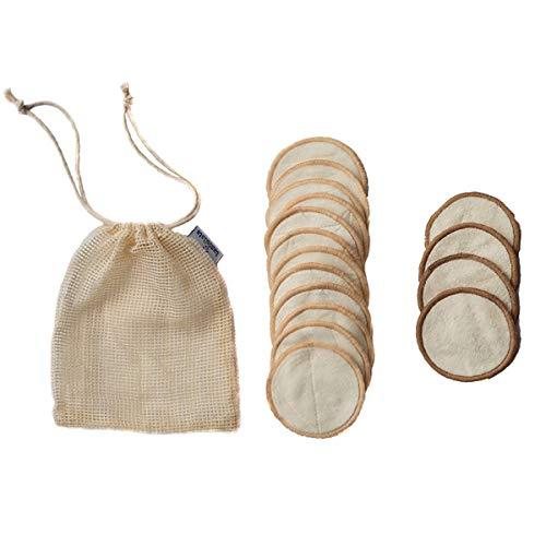 16 waschbare Abschminkpads aus Bambus und Baumwolle - wiederverwendbare Abschminktücher aus Stoff zur Make-Up Entfernung mit Waschbeutel - umweltfreundlich, vegan, antibakteriell für Gesicht und Augen