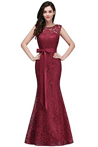 Babyonline® Mode Damen 1920s Lace Apartkleider Abendkleid Fishtail Maxi Langes Kleid Wein Rot 42