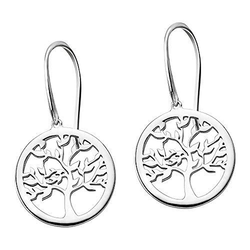 Lotus Pendientes de plata de ley 925 con diseño de árbol de la vida, modelo LP1641-4/1, JLP1641-4-1