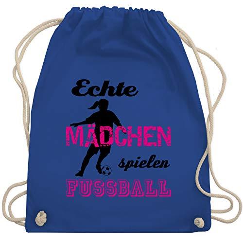 Fussball EM 2021 Fanartikel - Echte Mädchen spielen Fußball - Schwarz - Unisize - Royalblau - sportbeutel mädchen echte mädchen spielen fußball - WM110 - Turnbeutel und Stoffbeutel aus Baumwolle