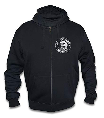 KNOW-MORE-STYLEZ Sweatjacke Hardcore Gabber Germany Dog mit Kapuze (M)