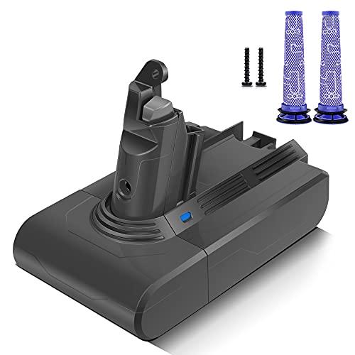 morpilot Batería de Reemplazo para Dyson V6, 21.6V Li-Ion Compatible con Dyson V6 Series DC58 DC59 DC61 DC62 DC72 DC74 DC62 Animal 595 650 770 880, con 2PCS Pre Filtros Lavables