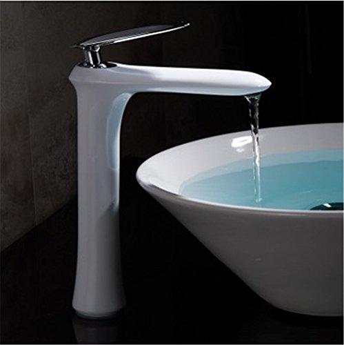 Gyps Faucet wastafelmengkraan met één hendel voor de badkamer, het witte oppervlak, de waterkraan plus hoge kleuren-mengkraan antioxidant, single hete en koude wastafel, badkamerkast water