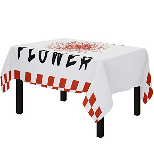 Yun Nist Tablecloths for Rectangle Table Farm Blooming Sunflower Floral, Cotton Linen Fabric Table Cover Tabletop Cloth for Dining Room Kitchen, Red and White Plaid