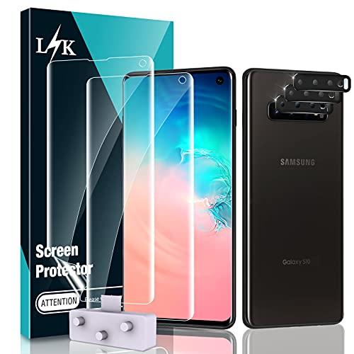 LϟK 5 Pack Protector de Pantalla para Samsung Galaxy S10 con 2 Pack HD Película de TPU y 3 Pack Protector de Lente de Cámara -Negro - Sin Burbujas Fácil de Instalar Huella Digital Ultrasónica