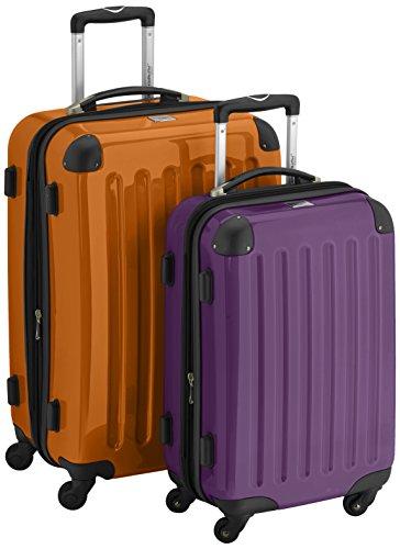 HAUPTSTADTKOFFER - Alex - 2er Koffer-Set Hartschale glänzend, 65 cm + 55 cm, 74 Liter + 42 Liter, Orange-Aubergine