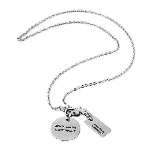[レッドダイス] メンズネックレス ネックレス ペンダント 人気 男性用 チェーン チェーンネックレス シルバーネックレス 大きめリング 銀 (サークル×プレート・白)