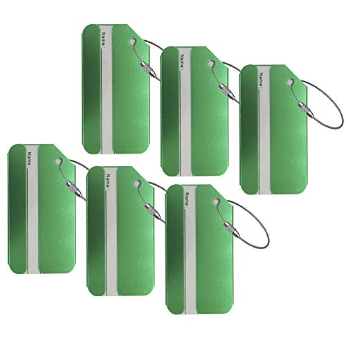 AVESON Luggage Tags, Aluminium Metal Travel Baggage Labels Suitcase ID Tag Bag Identifier, 6 Pack, Green