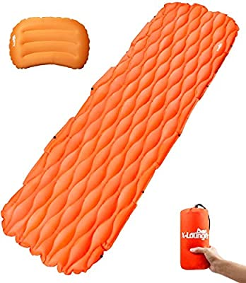 X-Lounger Sleeping Pad,Ultralight Inflatable Sleeping Mat Come with Inflatable Pillow with Connect Buckle for Expanded Infinitely When Camping,Hiking and Other Outdoor Activities