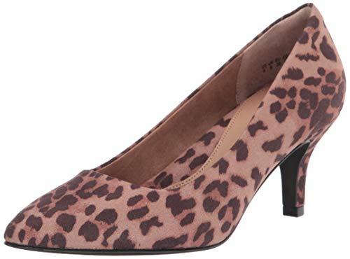 Amazon Essentials Bomba de talón Mediana de Punta Redonda. Pumps-Shoes, Leopardo, EU 38
