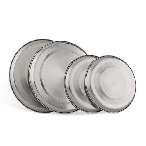 Relaxdays afdekplaten roestvrij staal set van 4, kookplaten afdekking tot 20 cm diameter elektrofornuis afdekking, zilver