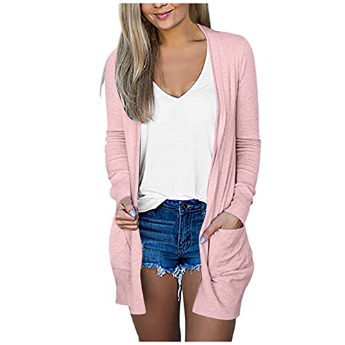 Fankle Women's Casual Open Front Cardigan Long Knitted Sweaters with Pockets(Pink,XX-Large)