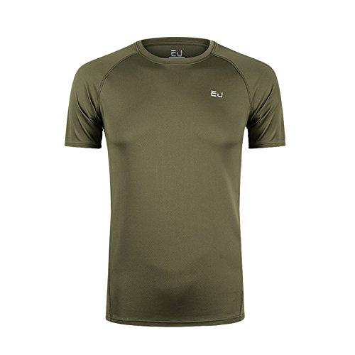 Sillictor Tシャツ メンズ 半袖 無地 スポーツ シャツ 通気 速乾 吸汗 防臭 UVカット アーミーグリーン S [5324]