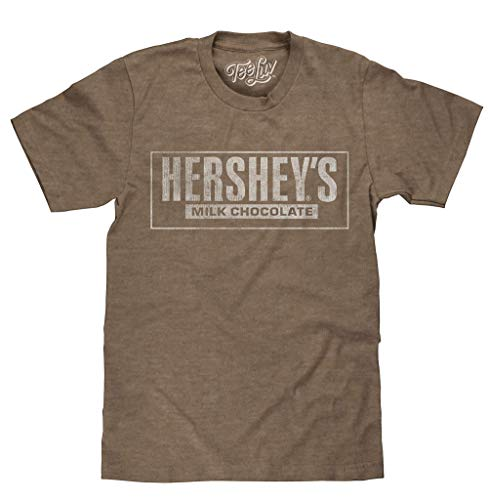 Tee Luv Compatible with Hershey's T-Shirt - Hersheys Milk Chocolate Logo Shirt (Brown Heather) (L)