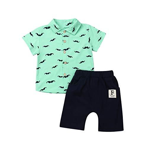 Geagodelia Conjunto Niños Bebés Verano Gentleman Camiseta de Manga Corta Pantalón Corto Ropa Bautizo de 2 Piezas (Barba-Verde, 6-12 Meses)